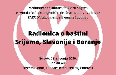Radionica o baštini Srijema, Slavonije i Baranje